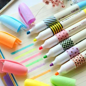 Office-Supplies Stationery Marker-Pen Highlighter Fluorescent High-Capacity-Color 6-Colors/Lot