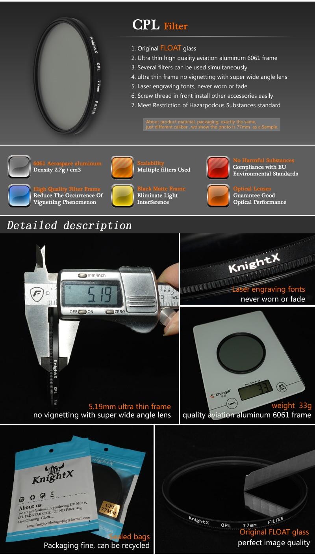 KnightX 49mm 52mm 55mm 58mm 67mm 77mm cpl Filter for Canon Nikon D5300 D5500 DSLR camera Lenses lens accessories d5100 d3300 CPL 1
