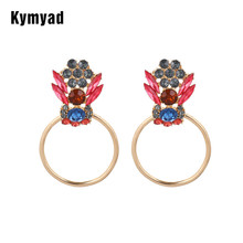 Kymyad Statement Luxury Earrings For Women Vintage Bijoux Rhinestone Dangle Earring Gold Silver Color Earings Fashion Jewelry