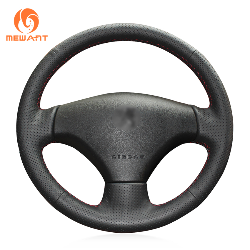 MEWANT Black Genuine Leather Car Steering Wheel Cover for Peugeot 206 2007-2009 Peugeot 207 Citroen C2 shining wheat hand stitched black leather steering wheel cover for peugeot 206 2007 2009 207 citroen c2