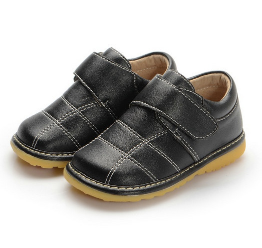Solid Black Baby Boy Shoes 1-3Y Baby Squeaky Shoes High Quality Soft Leather(PU) Toddler Shoes