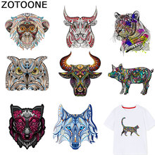 ZOTOONE Colorful Animal Patches Tiger Owl Stickers Iron on Transfers for Clothes T-shirt Accessory Appliques Heat Transfer F1