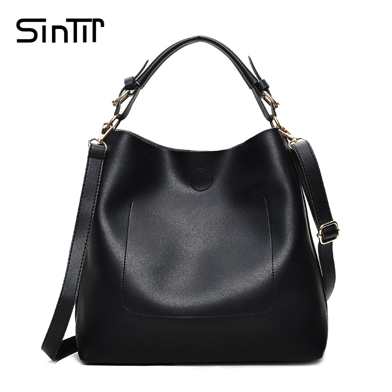 SINTIR 2017 Luxury Designer Black Women Handbags Famous Brands High Quality PU Leather Shoulder Bags Casual Crossbody Bags Bolsa 6 set luxury handbags women bags designer high quality female shoulder bags fashion tassel famous brands casual tote pu leather