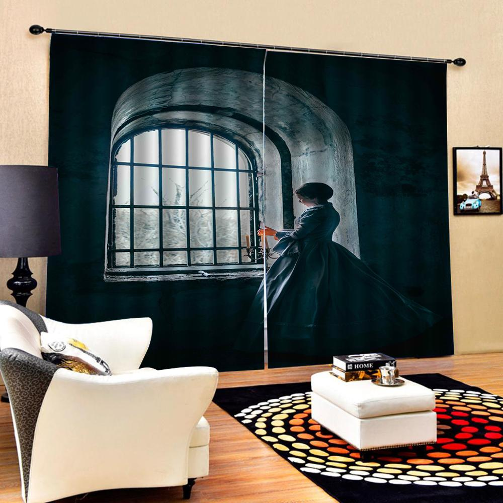 Customized size Luxury Blackout 3D Window Curtains For Living Room window curtains beautiful girls curtain  Blackout curtain