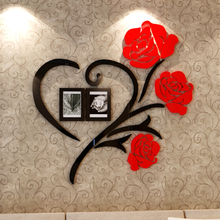 Love Rose Flowers 3D Acrylic Wall Stickers Decor Accessories  Sticker