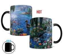 Sirenita taza de cambio de color tazas de calor revelan etiqueta casera de cerveza tazas de té de porcelana taza de café de cerámica de la novedad cocina drinkware