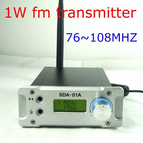 Freeshipping! NEW CZH  SDA-01A PC Control 1W FM Transmitter Radio broadcast station for home USB 76-108MHZ Silver