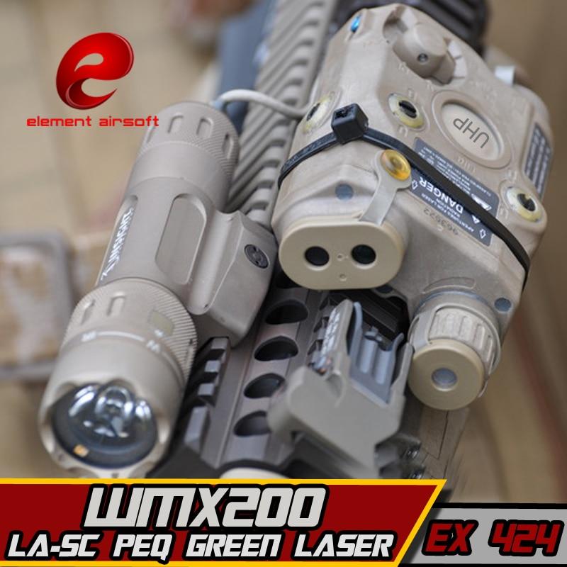 Ex424 elemento sf LA-5C peq uhp aparência verde laser & wmx200 lanterna & duplo controle remoto airsoft lanterna combinação