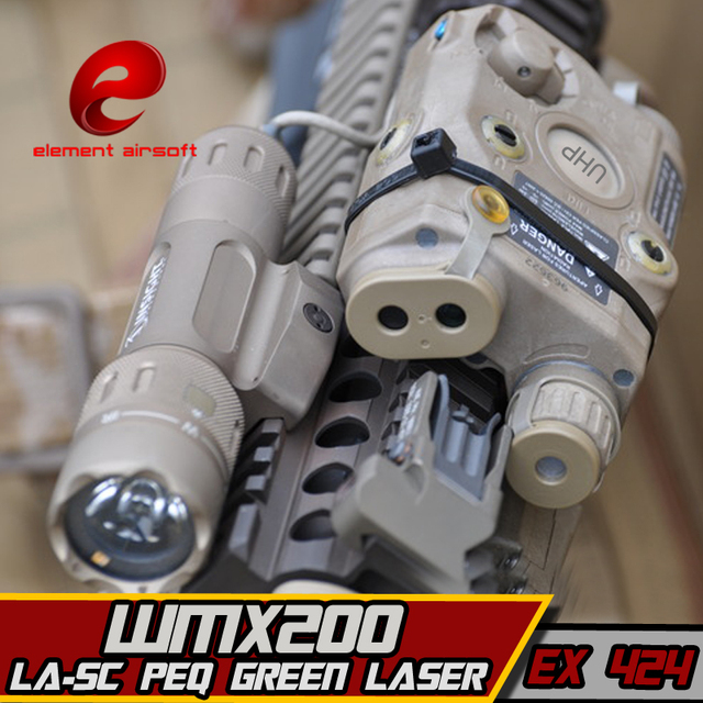 EX424 Element SF LA 5C PEQ UHP Appearance Green laser& WMX200 Flashlight &Double Remote Control Airsoft Flashlight combination