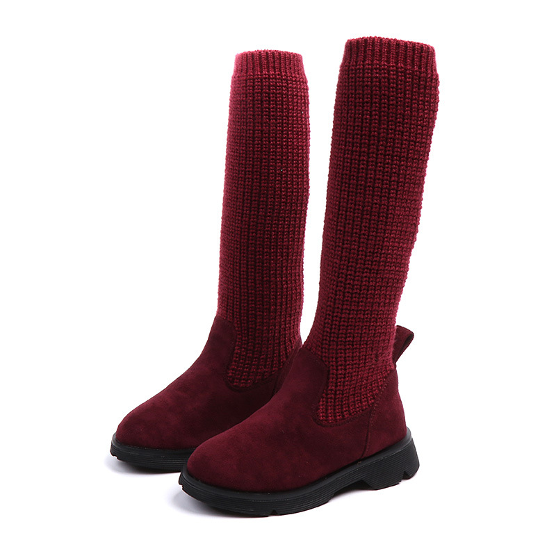 Big Girl Shoes 2018 Autumn Boots Princess Party Wedding Shoes Socks Long Boots for Girls High Quality Red Soft Flat Shoes