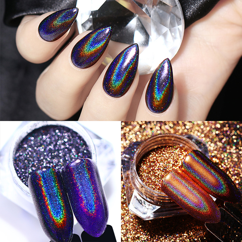 Born Pretty 2 Bo Holographic Nail Glitter Champagne Rose Gold Purple Mirror Rainbow Manicure Art Chrome Pigment