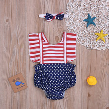 4th of July Twinning Baby Girl Backless Romper