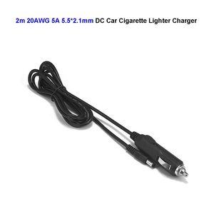 Adaptateur d'alimentation de voiture 2m 12V 5A | 5.5mm x 2.1mm DC prise d'allume-cigare câble 20AWG 2m pour lecteur DVD, voiture camion Bus bateau