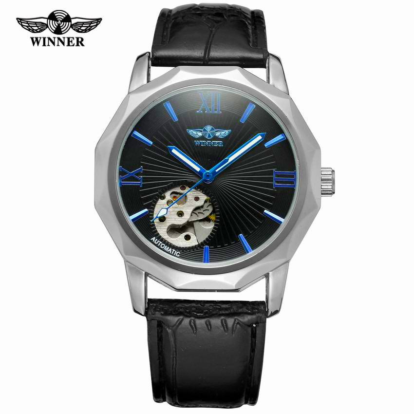 Winner Blue Exotic Dodecagon Design Skeleton Dial Men Watch Geometry Top Brand Luxury Automatic Fashion Mechanical Watch winner men fashion cool black automatic mechanical watch rubber strap skeleton dial automatic dial design sport style wristwatch