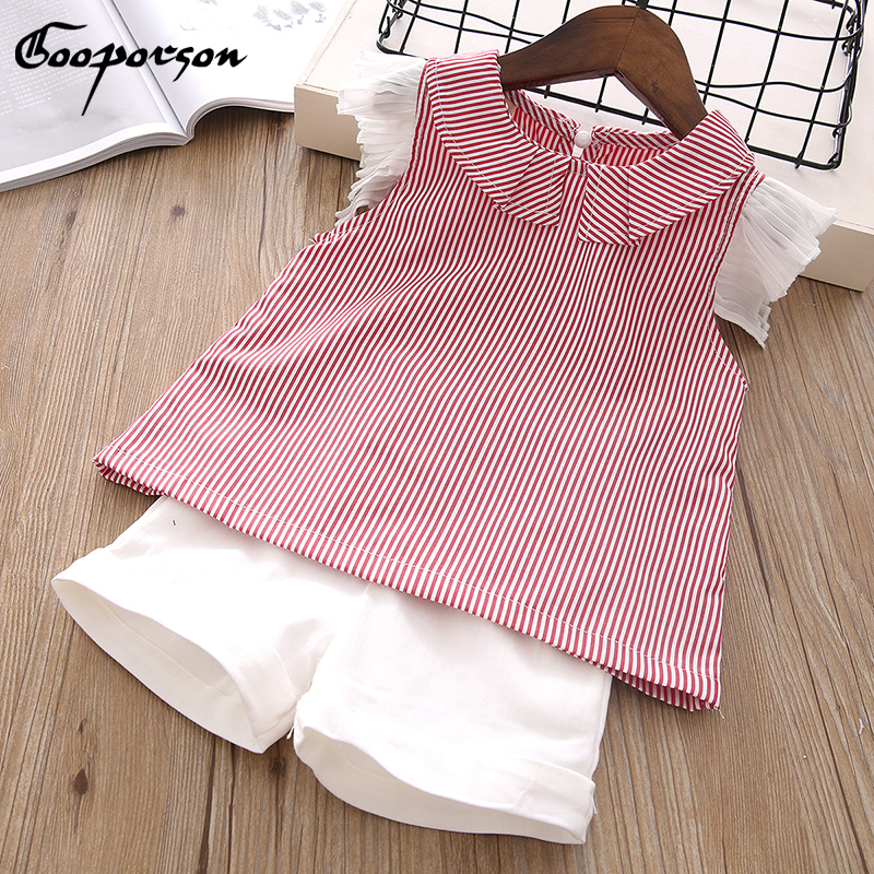 2018 New Children Clothes Set Summer Short Lace Sleeve Striped 2 Pcs Sets Bloue Shirt And White Pants Girls Clothing Suit Kids