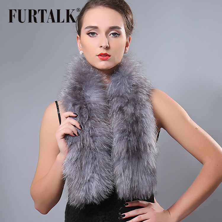 FURTALK Luxury Brand Fox Fur   Scarf   Women Warm Winter Real Fur   Scarf   110*15cm Female Elegant Russian Fur Collar Shawl   Scarf     Wraps