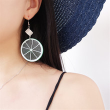 CRLEY Exaggerated Big Lemon Green Acrylic Drop Earrings Fashion Beach Holiday Cute Round Jewelry Korean Creative Lady