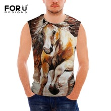 FORUDESIGNS Wholesale mens workout Animal Horse tank top Sleeveless Shirt Bodybuilding Stringer Singlet Quick-dry Vests