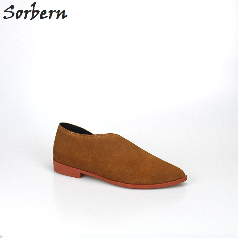 Sorben Brown Side Open Pointed Toe Flats Heel Shoes Women 2Cm Low Heels Slip-On Women Loafers Genuine Leather Flats Plus Size 43 odetina 2017 new women pointed metal toe loafers women ballerina flats black ladies slip on flats plus size spring casual shoes