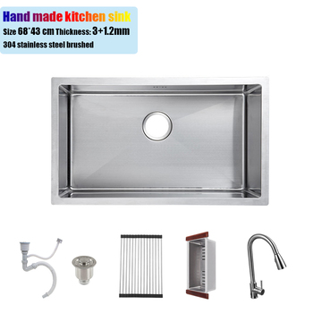 цена на 68*43 cm undermount 304 stainless steel kitchen sink hand made single bowl water tank brushed big size 26.77