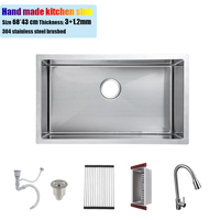 68 43 Cm 304 Stainless Steel Kitchen Sink Hand Made Single Bowl Big Size 68 43CM