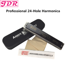 JDR Harp Diatonic Harmonica Tremolo Standard 24 Hole Harmonica With Case Woodwind Musical Instrument Key Of C For Rock Jazz Folk