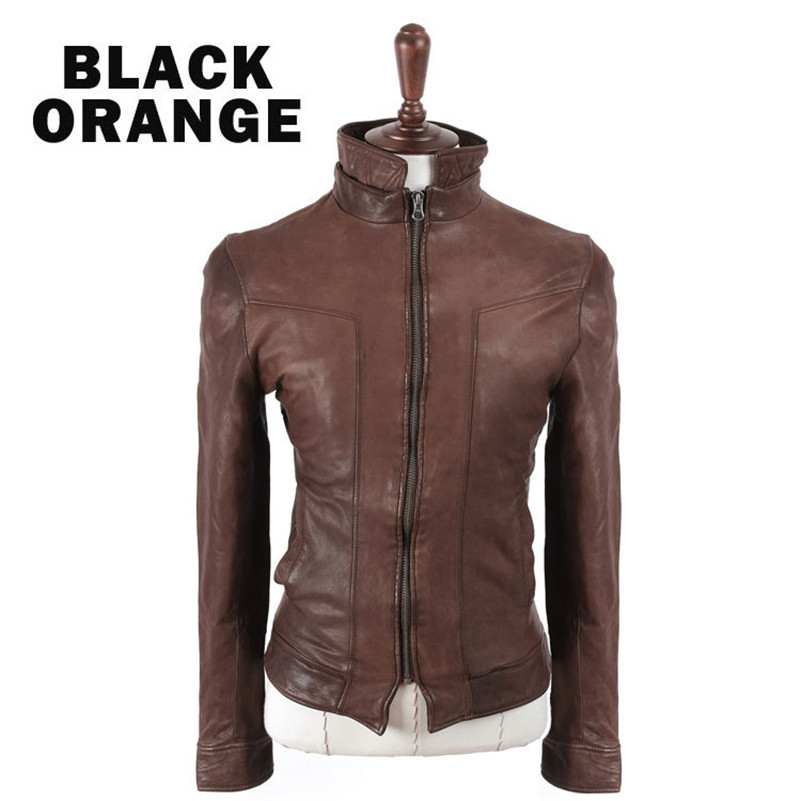 New men casual leather jacket slim brand clothing pure colour fashion leather jacket for male