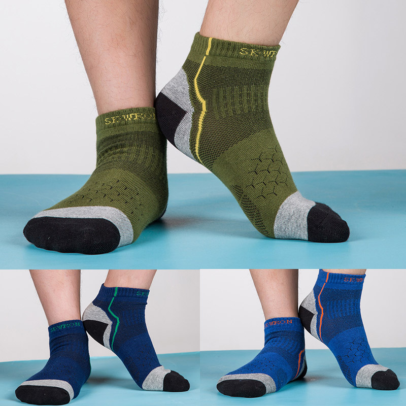 3 Pairs/lot Men Cotton Tactics Socks Thick Autumn CoolMax Green Breathable Socks