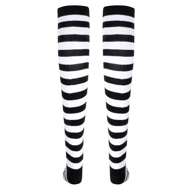 3ccb04540b6 1 Pair Women Girls Christmas Striped Over Knee Stockings Fashion Stripe  Over Knee Socks Long Cotton