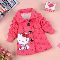 2014 Fashion Winter Baby Girls Coat Children Hello Kitty Coat Kids Outerwear Pink Red Girls Jacket