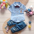 New Kids Boy Baby Set Clothing Style Summer Children Boys Cute Bow Short Sleeved T-shirt + Pants Child Suit