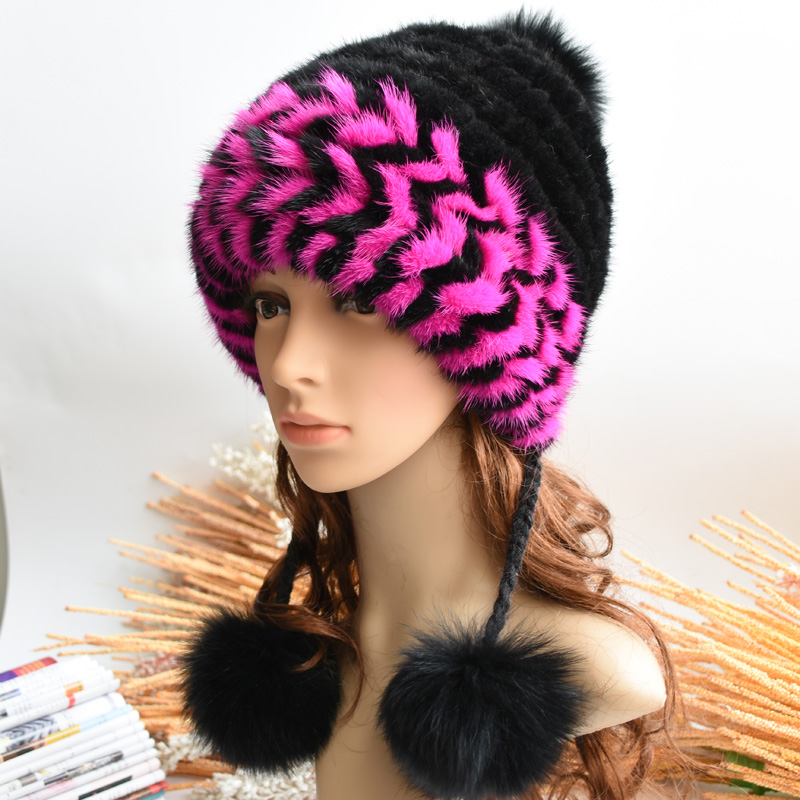 100% Real Mink Fur Hat for Women Winter Knitted Mink Fur Beanies Cap with Fox Fur Pom Poms 2016 New Thick Female Russian Cap цены онлайн