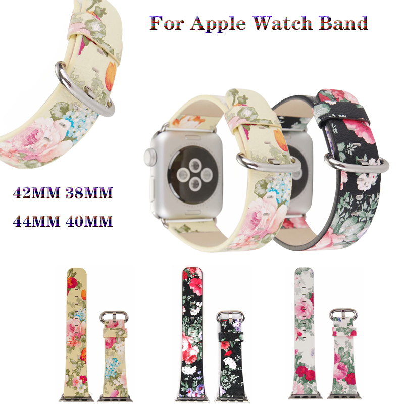 Chinese Ink Painted style floral print Bracelet Strap for Apple Watchband 4 44/40/42/38mm Leather band for iWatch Series 4 3 2 1Chinese Ink Painted style floral print Bracelet Strap for Apple Watchband 4 44/40/42/38mm Leather band for iWatch Series 4 3 2 1
