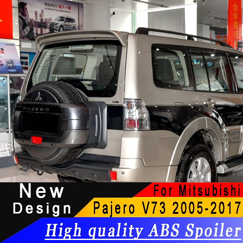 High quality ABS spoiler For Mitsubishi Pajero V73 2005 to 2017 roof spoiler Primer or any color rear spoiler for Pajero V73 Mitsubishi Pajero