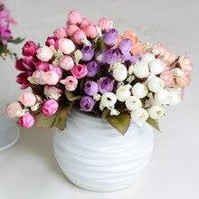 1PC 15 head / bouquet small bud rose piece artificial flower silk DIY wedding home Christmas decoration gift