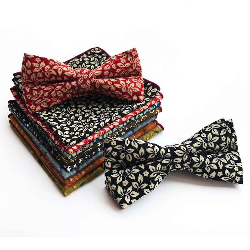New Classic Paisley Floral Style 2019 New Men's Bow Ties Set Bowties Hanky Gravata Corbatas Bows Flower Striped Checks Bowties