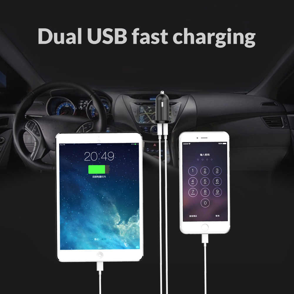 ORICO Dual USB Car Charger 17W Output Mobile Phone 2.4A Smart Travel Adapter for iPhone 7 Samsung Xiaomi Car USB Charger