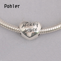 925 Sterling Silver Mickey Mouse Of Heart Charms European Beads Fit Pandora Charms Bracelets Necklace SP00285