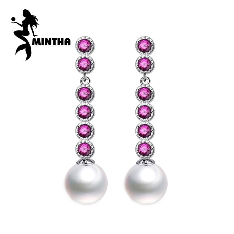 MINTHA Round pearl earrings,925 Sterling Silver earrings,vintage earrings wedding engagement Jewelry for Women long earrings pair of vintage rhinestone faux pearl earrings for women