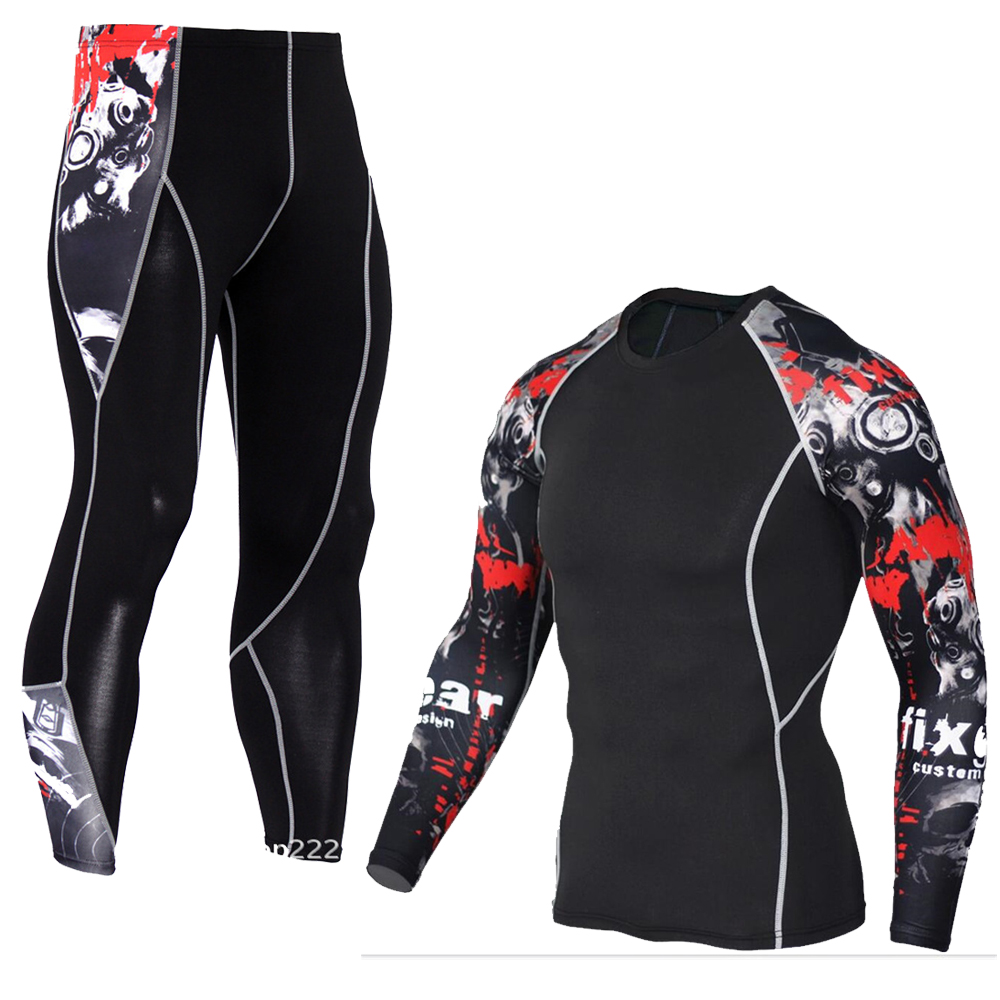 Men's Compression Run Jogging Suits Clothes Sports Set Long T Shirt And Pants Gym Fitness Workout Tights Clothing 2pcs/Sets MMA 5