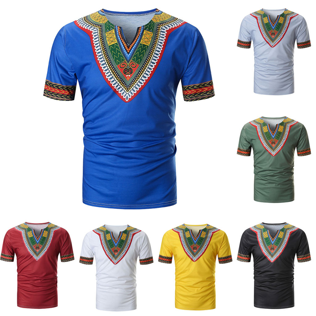 10 Couleurs V Cou T-shirt Gießen Hommes Hommes T Sommer Casual Afrikanische Print O Neck Pullover Kurzarm T-shirt Top Bluse # Smt