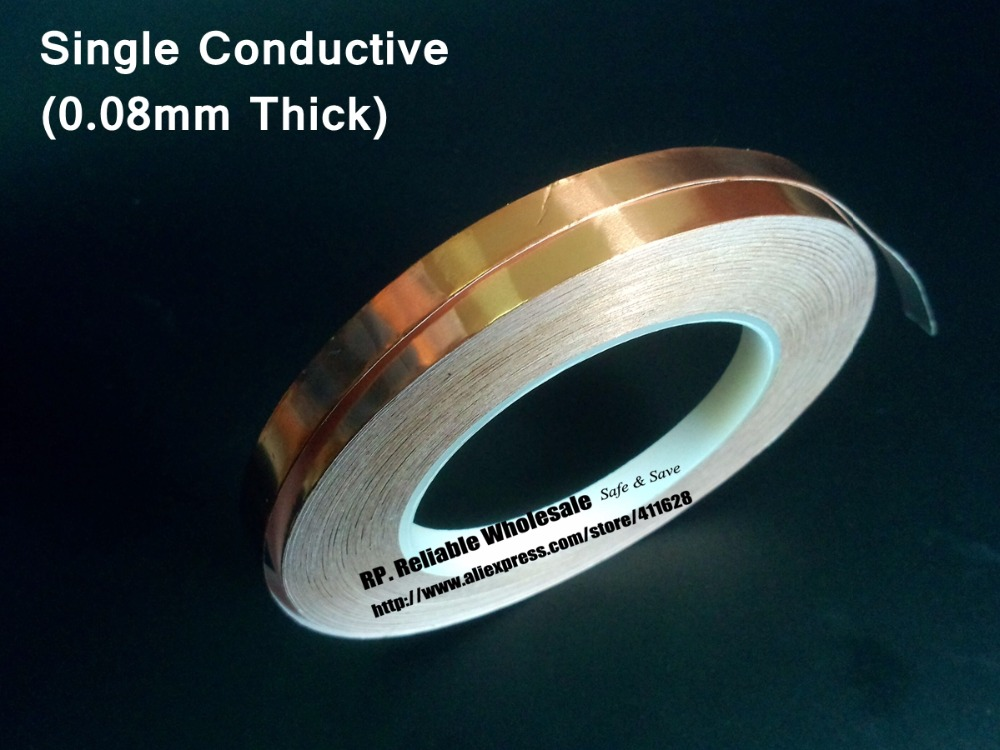 (0.08mm thick) 20mm*30M Single Face Glue Electric Conduction Copper Foil Electromagnetic wave shield Tape 2 roll 6mm 30m 0 06mm adhesive single electric conduct copper foil tape for electromagnetic wave radiation emi shield mask