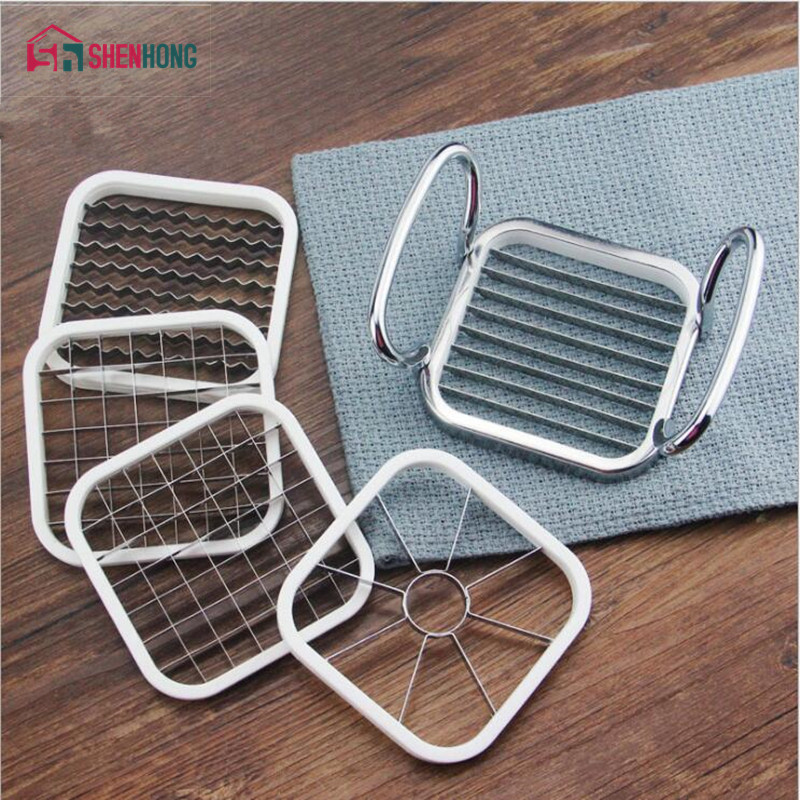 SHENHONG 5 in 1 Kitchen Gadgets Stainless Steel Vegetable Fruit Cutter Shredders Potato Chips Apple Pear French Fries Cutter