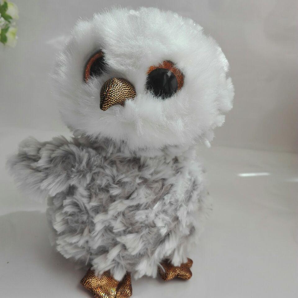 Owlette White Owl Ty Beanie Boos 15cm 6 Big Eye Plush Toys Stuffed