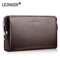 LEINASEN 2017 New Brand Password Lock Handbag Men Long Business Man Wallet High Capacity Leather Men