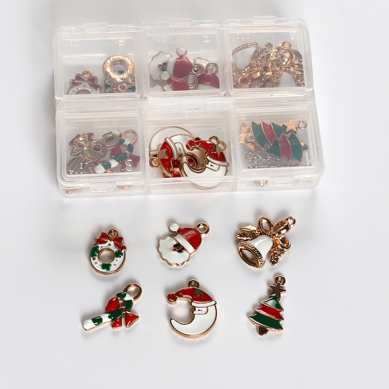 30pcs/Box Christmas Tree Oil Pumpkin Charms DIY Metal Necklace Keychain Jewelry Accessories Santa Claus Bell Cane Decorations
