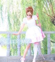 Cardcaptor Sakura KINOMOTO SAKURA Cosplay Costume Halloween Lolita Suits Dress Kinomoto Sakura Cosplay Fighting Uniform Costume