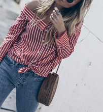 chic chic women blouse cute female ladies new womens top striped one shoulder autumn winter shirt top