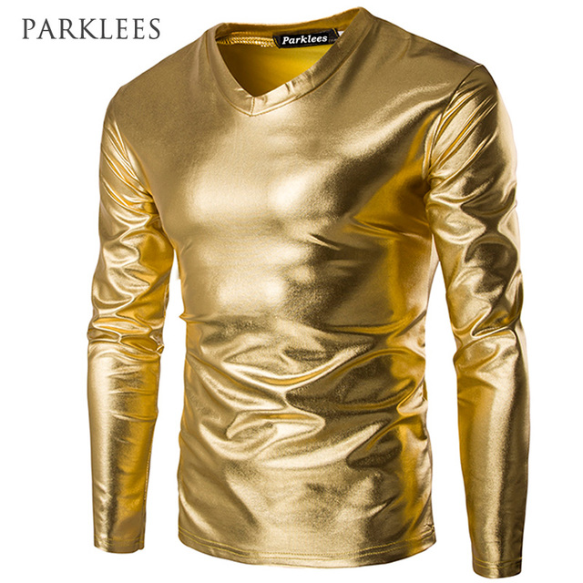 5931e7ddf74 Coated Metallic Gold Silver T Shirts Men Trend Night Club Wear Stylish  Shiny Tshirt Men Casual Long Sleeves Tee Shirt Homme
