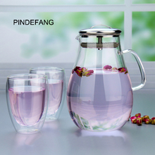 3in1 PINDEFANG 2.0L Eis Tee Krug + 2×350 ml Geschenkset Borosilikatglas Wasserflasche Moderne Drink Hause Saft Utensil